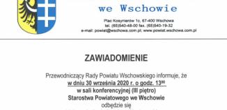 ZapowiedźXVII sesji Rady Powiatu Wschowskiego.
